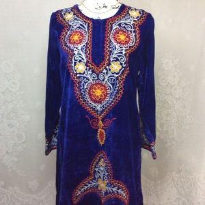 Vintage Royal Blue Velvet Embroidered Kaftan Dress